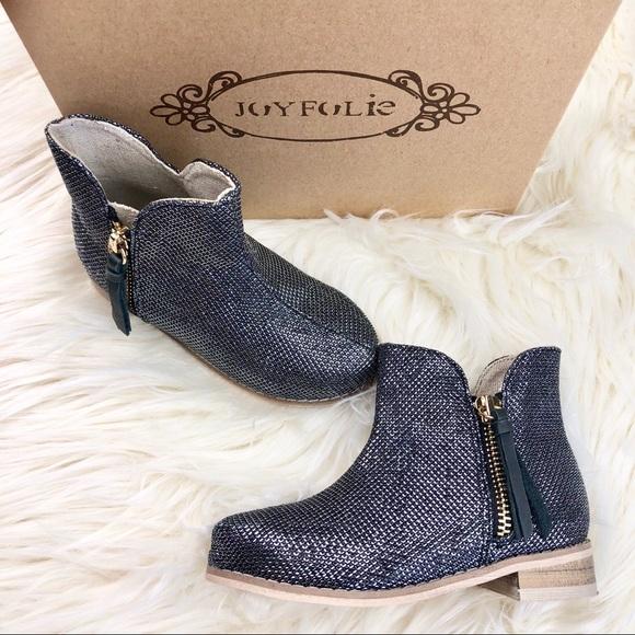 527f7c608656 NIB Joyfolie Kaitlin Girls Black   Silver Booties